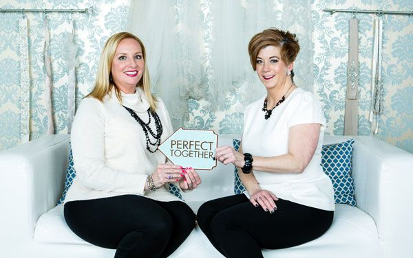 Who says you can't work with your bestie? Bella Sera Bridal & Occasion owners and best friends Lisa Almeida & Heidi Nicholson have been in business for more than a decade! Photo © Shawn Black Photography