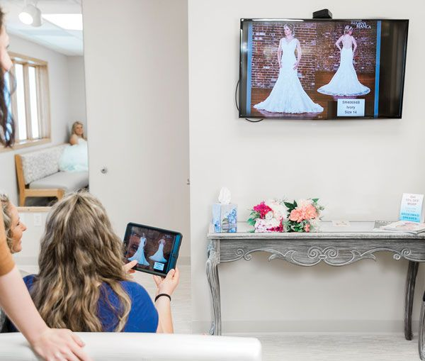 A bride-to-be scrolls through