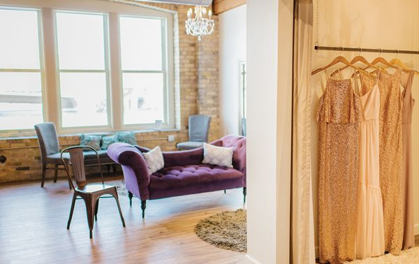 The bridesmaids suite features three fitting rooms & three viewing areas.
