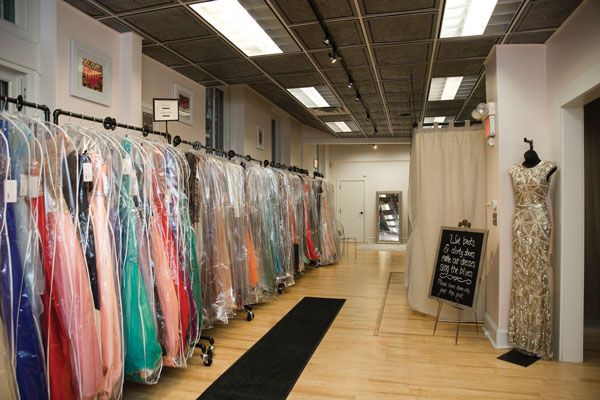 Blush Bridal and Formal in Bangor, Maine, displays all prom dresses in one room.