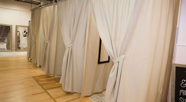 Fitting rooms for prom customers at Blush Bridal and Formal in Bangor, Maine.