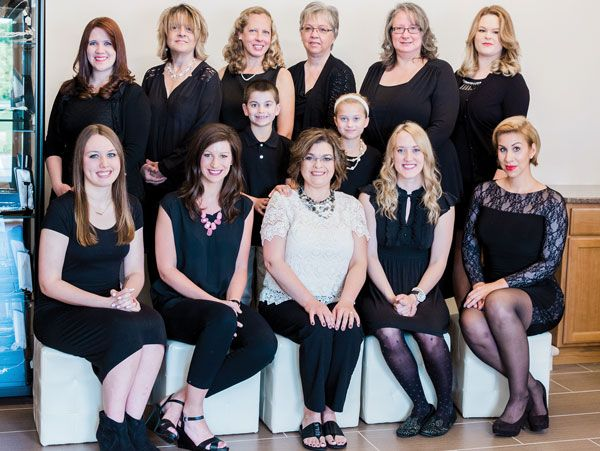 The Elegant Occasions staff (Top, L to R): Nichole Miller, Diane Carlson, JoAnn Grewe, Kim Koelemay, Heather LaCrosse, Kristy Luedtke; (Middle: Mason Wood, Anna Wood; (Seated L to R): Ashlyn Fellowes, Jackelyn Nelson, Greta Wood, Kara Lunde, Moriah Neumann; (Missing): Will Wood, Spencer Wood, Jean Frankel, Lori Ziegelbauer.