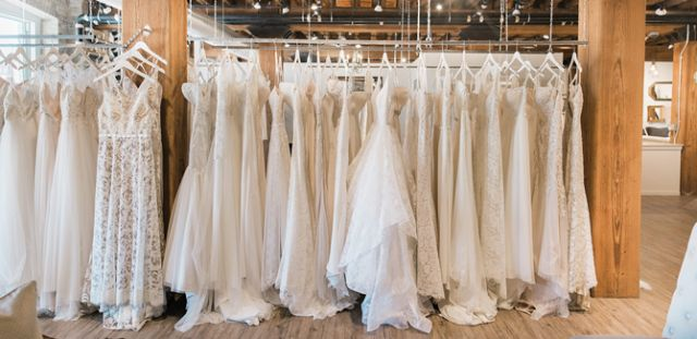 Gowns on display in the bridal suite.