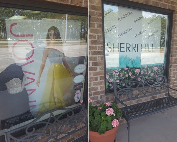 Knowing that many prom girls purchase based on brand names, An Affair to Remember in Fayetteville, N.C. highlights some of its most popular designers in display windows to capture attention.