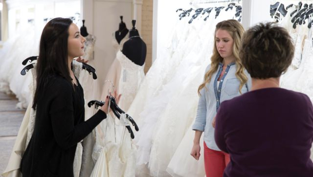Staff at Becker's Bridal dress in all black to maintain a clean and professional look, as well as to help customers distinguish them in the store.