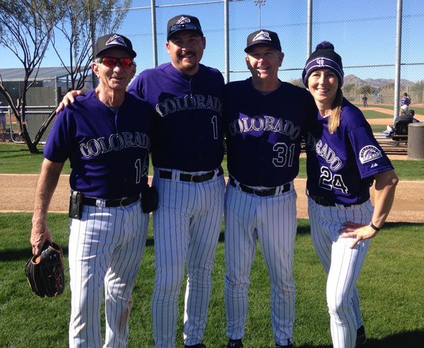 Me (right) pictured with my dad (next to me) and other team members at Rockies Fantasy Camp in Arizona. In case you're wondering, I'm already training for next year!