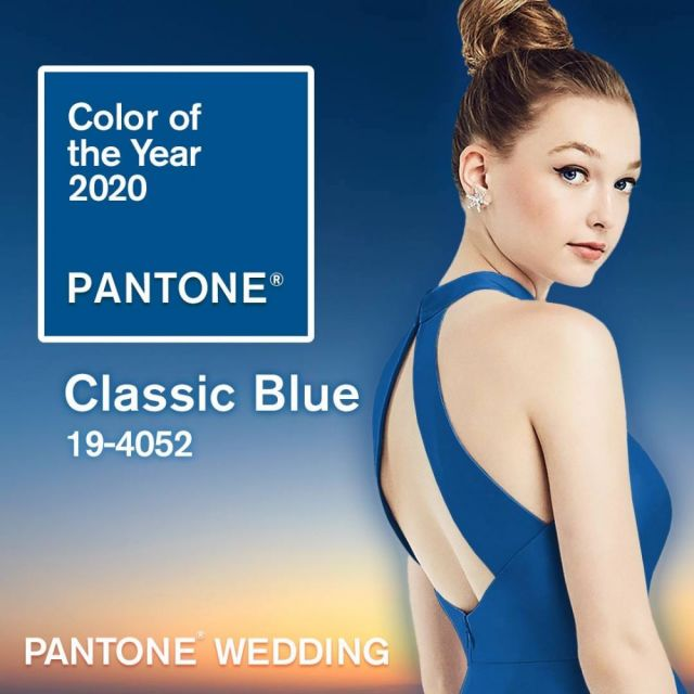 Pantone's Color of the Year for 2020, shown in a Dessy bridesmaid style.