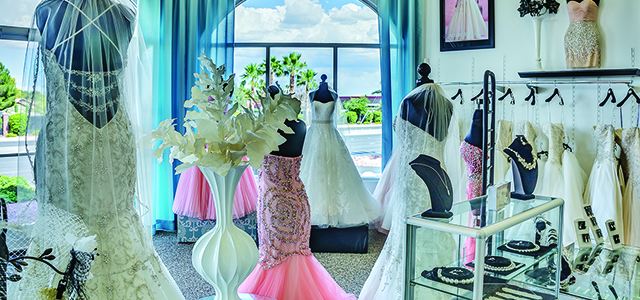 Celebrations Bridal & Fashion is located less than four miles from the Las Vegas Strip. Customers from all over the world visit the showroom.