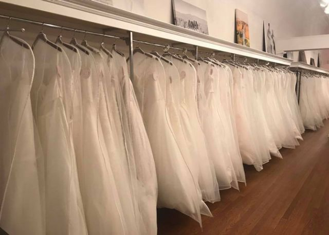 "Plus-size gowns are displayed first at Celebration Bridal in Lynchburg, Va. ""We don't want a plus-size bride to have to walk past all of the smaller gowns that she can't try on before getting to the plus-size gowns,"" owner Leecy Fink says."