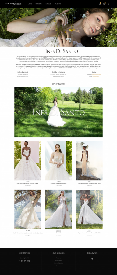 An example of what a designer's page will look like on The Bridal Council's new site.