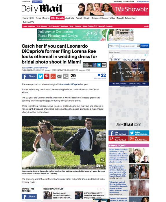 DailyMirror UK captures Leonardo DiCaprio's former girlfriend Lorena Rae modeling bridal gowns at Martin Thornburg photo shoot in Miami.
