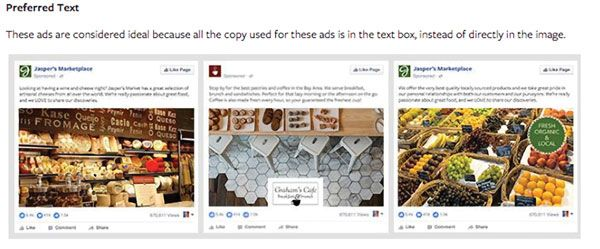 Facebook's advertising tutorial includes specific tips for effective use of text, graphics and layout when designing Facebook ads. In this tip, taken from its Ad Manager section, Facebook illustrates the best placement of text for display ads. Facebook © 2016