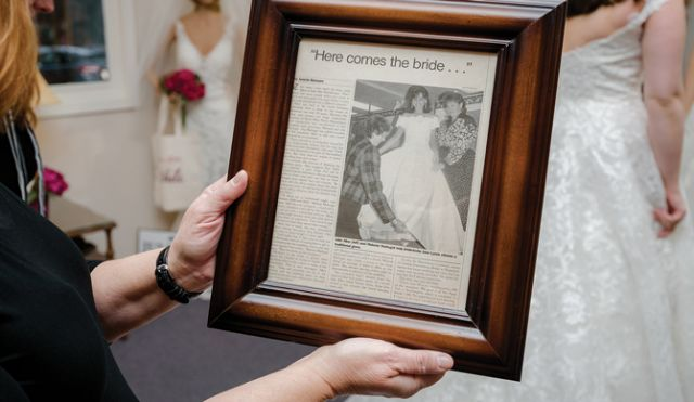 A framed article reminds of the store's illiustrious history.