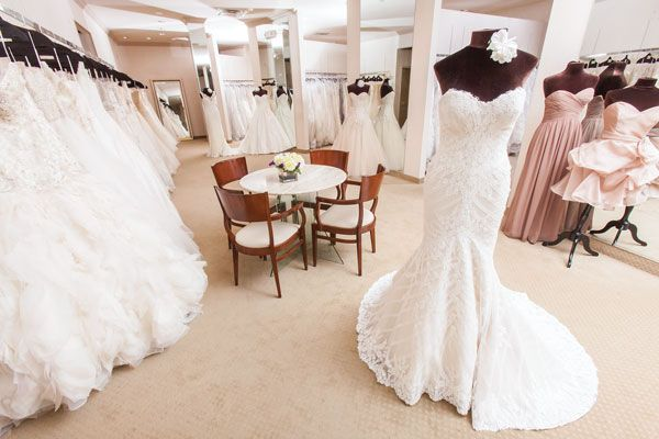 The sales floor at Betsy Robinson's shows off just a few of its incredible bridal gowns. Photo credit: Topher Stevenson / J Thomas Photography