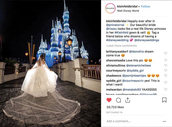 Liberal tagging of venues, designers and events, as well as an open request for followers to tag their friends, improves engagement. (Credit: @KleinfeldBridal on Instagram)