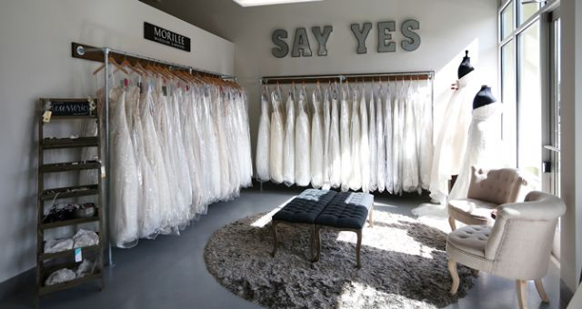 New Beginnings Bridal Studio in Puyallup, Wash., minimizes décor so all eyes will be on the bridal gowns. Photo credit: Angela Lyons Photography