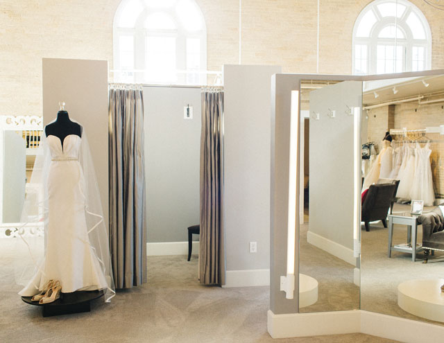 A view of one of the main salon's fitting rooms and viewing areas.