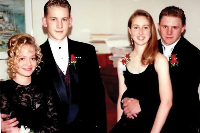 Me (second from R) at 16 ready for prom with Dave and friends.