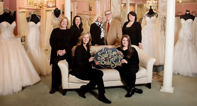 The Bridal Suite of Louisville staff: (L to R, standing): Paula Roberts, Sara Rodriguez, Laurie Robertson (owner), Terence Robertson (owner), Rachel Williams (manager).