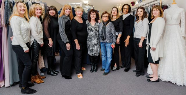 The Julie Allen Bridals team (L to R): Laura, Pam, Lois, Lauren, Melanie, Jessica, Yupa, Alex, Donna, Erica, Jen.