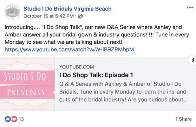 Creating helpful videos is an excellent way to capture followers' attention. (Credit: @StudioIDoBridals on Facebook).