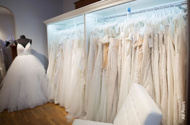Though approximately 20 percent of the Wedding Shoppe's overall company revenue comes from online sales, CEO Jim Fritz says wedding dress purchases are almost exclusively made in-store.