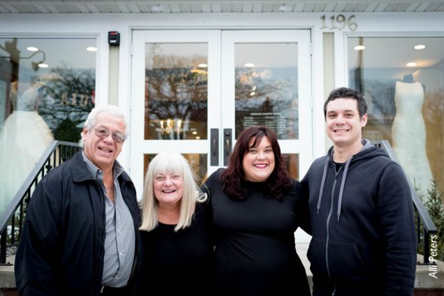 The Wedding Shoppe leadership team includes (left to right) founders Jim and Lois Fritz, store manager Carolyn Taylor and current CEO Jim Fritz.
