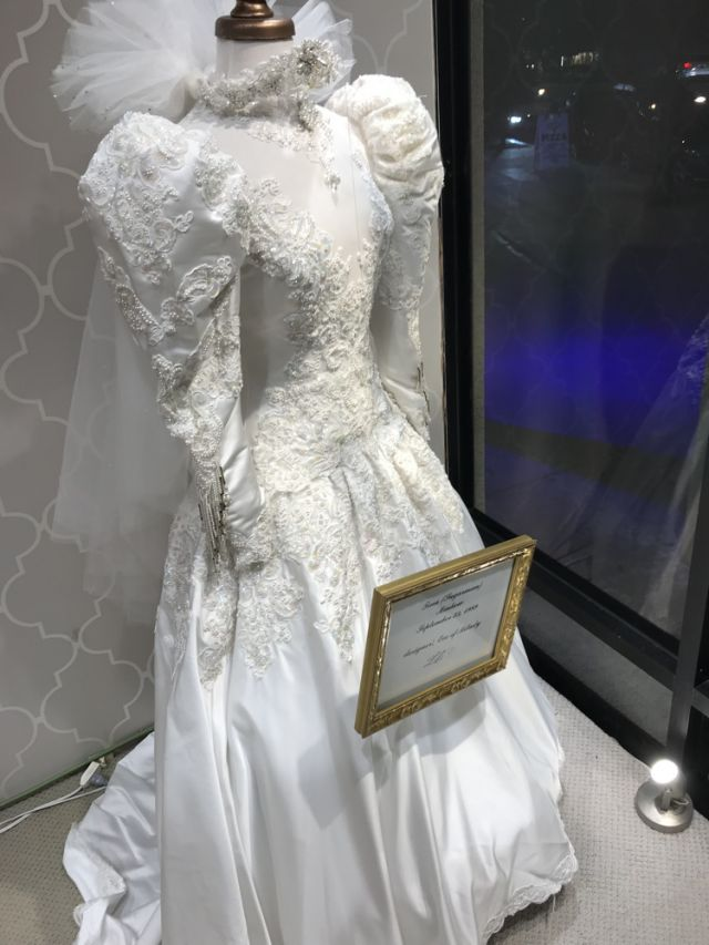 Lili's Bridals showcased 60 years of bridal fashion in window displays and in store.