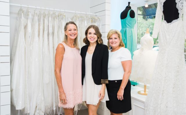 Island Bridal Boutique manager Lexi Carpenter (center), pictured with Dana Carpenter (left) and Tammy Hamby (right).