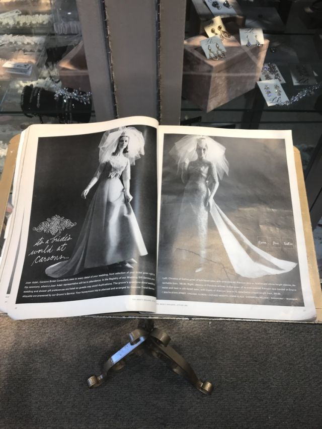 The history of Lili Bridals was portrayed with displays of bridal fashions, as well as magazines and other momentos of 60 years in business.