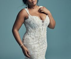 A featured gown in Maggie Sottero s new Curves collection showcases the modern, sexy styling of the collection.